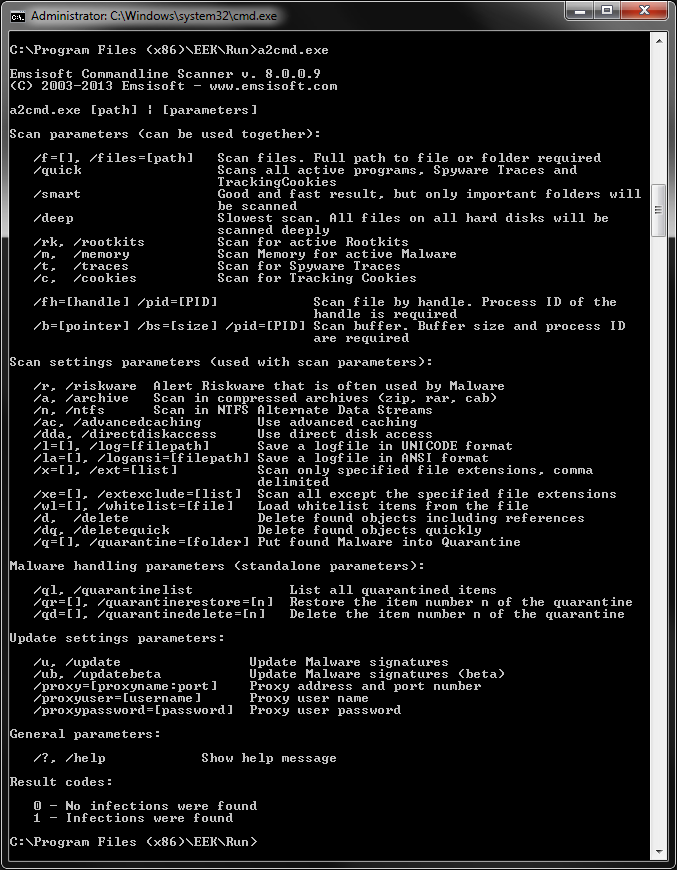 Emsisoft Commandline Scanner - Parameter Overview