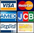 Visa, Mastercard, AMEX, JCB, PayPal, Check, Wire Transfer, Cash