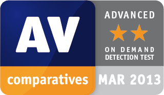 AV-Comparatives ADVANCED award for Emsisoft Anti-Malware 2013-03